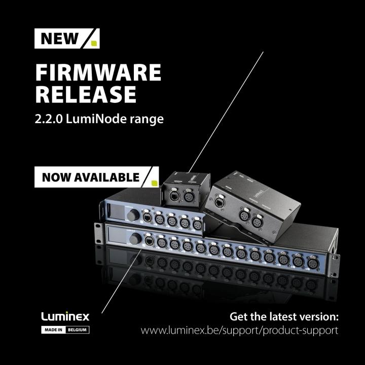 Luminex Announces New Firmware Release 2.2.0 for LumiNode Range